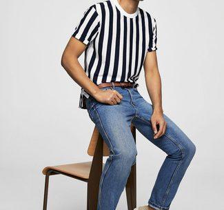 Comment porter un t-shirt à col rond à rayures verticales blanc ?